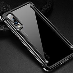 Huawei P30用ケース 高級感 手触り良い アルミメタル 製の金属製 バンパー カバー ファーウェイ ブラック