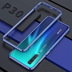 Huawei P30用ケース 高級感 手触り良い アルミメタル 製の金属製 360度 フルカバーバンパー 鏡面 カバー ファーウェイ ネイビー