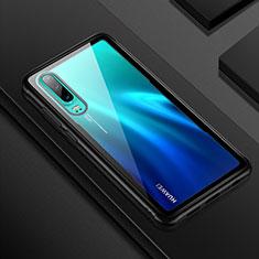 Huawei P30用ハイブリットバンパーケース クリア透明 プラスチック 鏡面 カバー T05 ファーウェイ ブラック