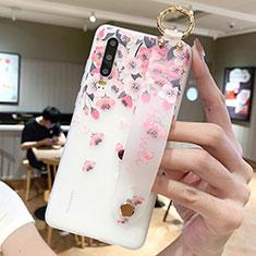 Huawei P30用シリコンケース ソフトタッチラバー 花 カバー S10 ファーウェイ ピンク