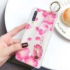 Huawei P30用シリコンケース ソフトタッチラバー 花 カバー S08 ファーウェイ ピンク