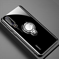 Huawei P30用極薄ソフトケース シリコンケース 耐衝撃 全面保護 クリア透明 アンド指輪 マグネット式 C01 ファーウェイ ブラック