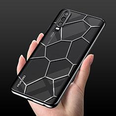 Huawei P30用極薄ソフトケース シリコンケース 耐衝撃 全面保護 クリア透明 S04 ファーウェイ ブラック