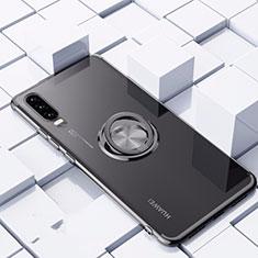 Huawei P30用極薄ソフトケース シリコンケース 耐衝撃 全面保護 クリア透明 アンド指輪 マグネット式 C02 ファーウェイ ブラック