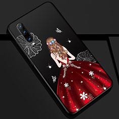 Huawei P30用シリコンケース ソフトタッチラバー バタフライ ドレスガール ドレス少女 カバー K02 ファーウェイ レッド・ブラック