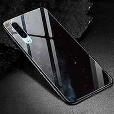 Huawei P30用ハイブリットバンパーケース プラスチック パターン 鏡面 カバー K01 ファーウェイ ブラック