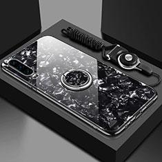 Huawei P30用ハイブリットバンパーケース プラスチック 鏡面 カバー アンド指輪 マグネット式 T01 ファーウェイ ブラック