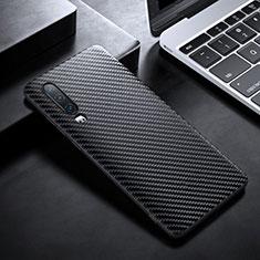 Huawei P30用炭素繊維ケース ソフトタッチラバー ツイル カバー T02 ファーウェイ ブラック