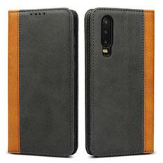 Huawei P30用手帳型 レザーケース スタンド カバー T10 ファーウェイ ブラック