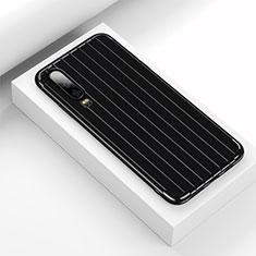 Huawei P30用シリコンケース ソフトタッチラバー ライン カバー C02 ファーウェイ ブラック