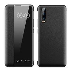 Huawei P30用手帳型 レザーケース スタンド カバー T01 ファーウェイ ブラック