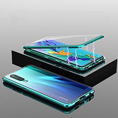 Huawei P30用ケース 高級感 手触り良い アルミメタル 製の金属製 360度 フルカバーバンパー 鏡面 カバー T04 ファーウェイ グリーン