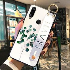 Huawei P30 Lite用シリコンケース ソフトタッチラバー 花 カバー ファーウェイ グリーン
