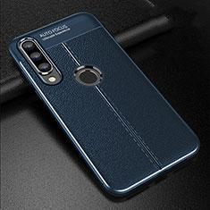 Huawei P30 Lite用シリコンケース ソフトタッチラバー レザー柄 S02 ファーウェイ ネイビー