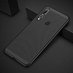 Huawei P30 Lite用ハードケース プラスチック メッシュ デザイン カバー ファーウェイ ブラック