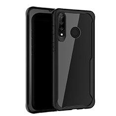 Huawei P30 Lite用ハイブリットバンパーケース プラスチック 鏡面 カバー Z01 ファーウェイ ブラック
