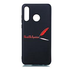 Huawei P30 Lite用シリコンケース ソフトタッチラバー バタフライ パターン カバー S01 ファーウェイ レッド