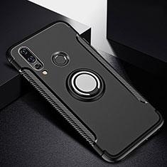 Huawei P30 Lite用ハイブリットバンパーケース プラスチック アンド指輪 マグネット式 ファーウェイ ブラック