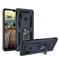 Huawei P30 Lite用ハイブリットバンパーケース スタンド プラスチック 兼シリコーン カバー マグネット式 ファーウェイ ネイビー