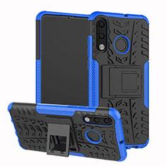 Huawei P30 Lite用ハイブリットバンパーケース スタンド プラスチック 兼シリコーン カバー A04 ファーウェイ ネイビー