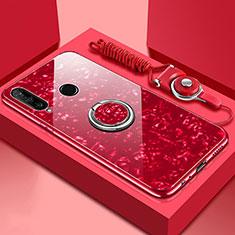 Huawei P30 Lite用ハイブリットバンパーケース プラスチック 鏡面 カバー アンド指輪 マグネット式 T01 ファーウェイ レッド