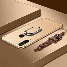 Huawei P30 Lite用ケース 高級感 手触り良い メタル兼プラスチック バンパー アンド指輪 T01 ファーウェイ ゴールド