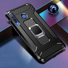 Huawei P30 Lite用ハイブリットバンパーケース プラスチック アンド指輪 マグネット式 R02 ファーウェイ ブラック