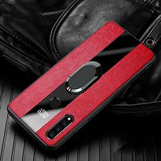 Huawei P30 Lite用シリコンケース ソフトタッチラバー レザー柄 アンド指輪 マグネット式 T05 ファーウェイ レッド