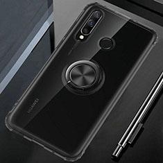 Huawei P30 Lite用極薄ソフトケース シリコンケース 耐衝撃 全面保護 クリア透明 アンド指輪 マグネット式 C02 ファーウェイ ブラック