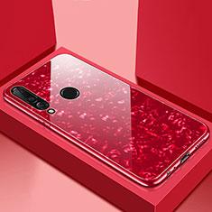 Huawei P30 Lite用ハイブリットバンパーケース プラスチック 鏡面 カバー T01 ファーウェイ レッド