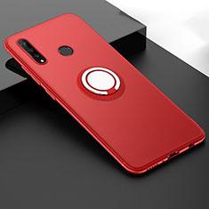 Huawei P30 Lite用極薄ソフトケース シリコンケース 耐衝撃 全面保護 アンド指輪 マグネット式 バンパー T04 ファーウェイ レッド