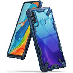 Huawei P30 Lite用ハイブリットバンパーケース クリア透明 プラスチック 鏡面 カバー H02 ファーウェイ ネイビー