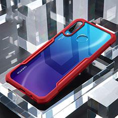 Huawei P30 Lite用ハイブリットバンパーケース クリア透明 プラスチック 鏡面 カバー H01 ファーウェイ レッド