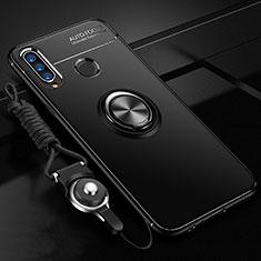 Huawei P30 Lite用極薄ソフトケース シリコンケース 耐衝撃 全面保護 アンド指輪 マグネット式 バンパー T02 ファーウェイ ブラック
