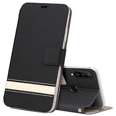 Huawei P30 Lite New Edition用手帳型 レザーケース スタンド カバー T07 ファーウェイ ブラック