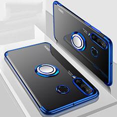 Huawei P30 Lite New Edition用極薄ソフトケース シリコンケース 耐衝撃 全面保護 クリア透明 アンド指輪 マグネット式 C01 ファーウェイ ネイビー