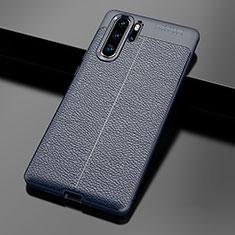 Huawei P30 Pro用シリコンケース ソフトタッチラバー レザー柄 ファーウェイ ネイビー
