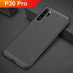 Huawei P30 Pro用ハードケース プラスチック メッシュ デザイン カバー ファーウェイ ブラック