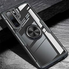 Huawei P30 Pro用極薄ソフトケース シリコンケース 耐衝撃 全面保護 アンド指輪 マグネット式 バンパー A01 ファーウェイ ブラック