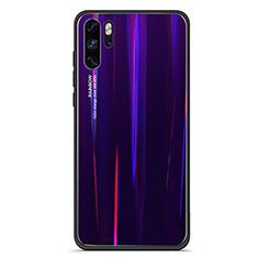 Huawei P30 Pro用ハイブリットバンパーケース プラスチック 鏡面 虹 グラデーション 勾配色 カバー ファーウェイ パープル