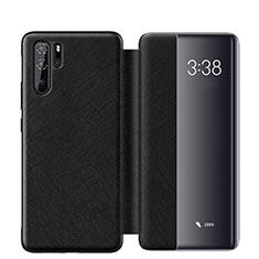 Huawei P30 Pro用手帳型 レザーケース スタンド カバー ファーウェイ ブラック