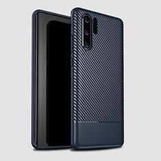 Huawei P30 Pro用シリコンケース ソフトタッチラバー ツイル カバー S04 ファーウェイ ネイビー