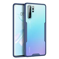 Huawei P30 Pro用ハイブリットバンパーケース クリア透明 プラスチック 鏡面 カバー M03 ファーウェイ ネイビー
