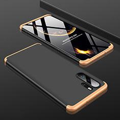 Huawei P30 Pro用ハードケース プラスチック 質感もマット 前面と背面 360度 フルカバー ファーウェイ ゴールド・ブラック