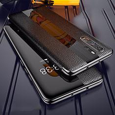 Huawei P30 Pro用シリコンケース ソフトタッチラバー レザー柄 Z01 ファーウェイ ブラック
