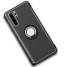 Huawei P30 Pro用ハイブリットバンパーケース プラスチック アンド指輪 マグネット式 ファーウェイ ブラック