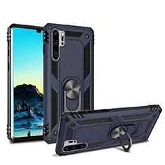 Huawei P30 Pro用ハイブリットバンパーケース スタンド プラスチック 兼シリコーン カバー マグネット式 ファーウェイ ネイビー
