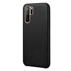 Huawei P30 Pro用ケース 高級感 手触り良いレザー柄 P04 ファーウェイ ブラック