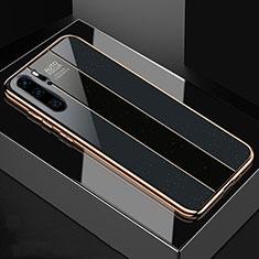 Huawei P30 Pro用ハイブリットバンパーケース プラスチック 鏡面 カバー T03 ファーウェイ ブラック