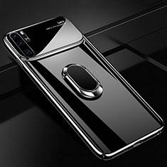 Huawei P30 Pro用ハードケース プラスチック 質感もマット アンド指輪 マグネット式 P02 ファーウェイ ブラック
